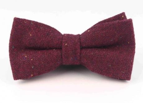 bow tie for grooms and pageboys in burgundy wool. This is a pre-tied wool bowtie