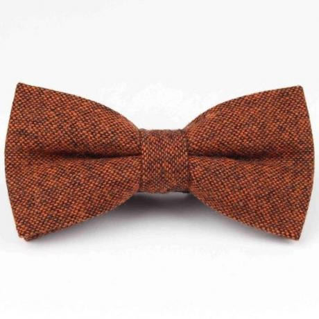 Rust copper bow tie in wool which is pre-tied for boys and men at weddings