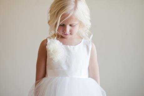 a peony style flower girl dress in ivory or white for flower girls or first communion
