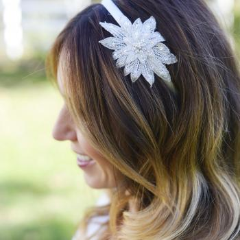 A bridesmaid and a flower girl wearing a star bridal diamante headband on a white Alice band.