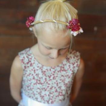 A bespoke hand made floral hair wreath for flower girls