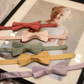 Four silk pre-tied pageboy boy ties in red, green, gold and lilac.