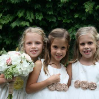 A group of toddler flower girl sand a baby wearing ivory and white flower girl dresses with dusky pink roses on the sash. The baby flower girl is wearing a lace flower girl dress with a pretty tulle skirt.