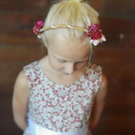 A bespoke hand made floral hair wreath for flower girls