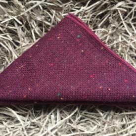 Burgundy maroon wool pocket square