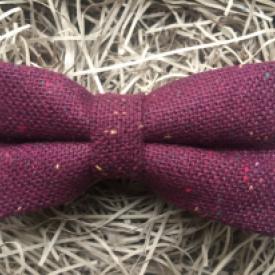 maroon flecked wool bow tie