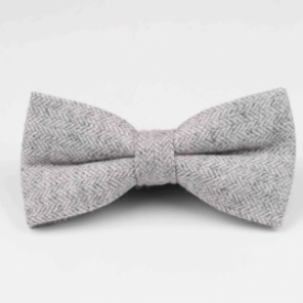 grey herringbone pre-tied bow tie for boys, adults, pageboys, groomsmen and grooms.
