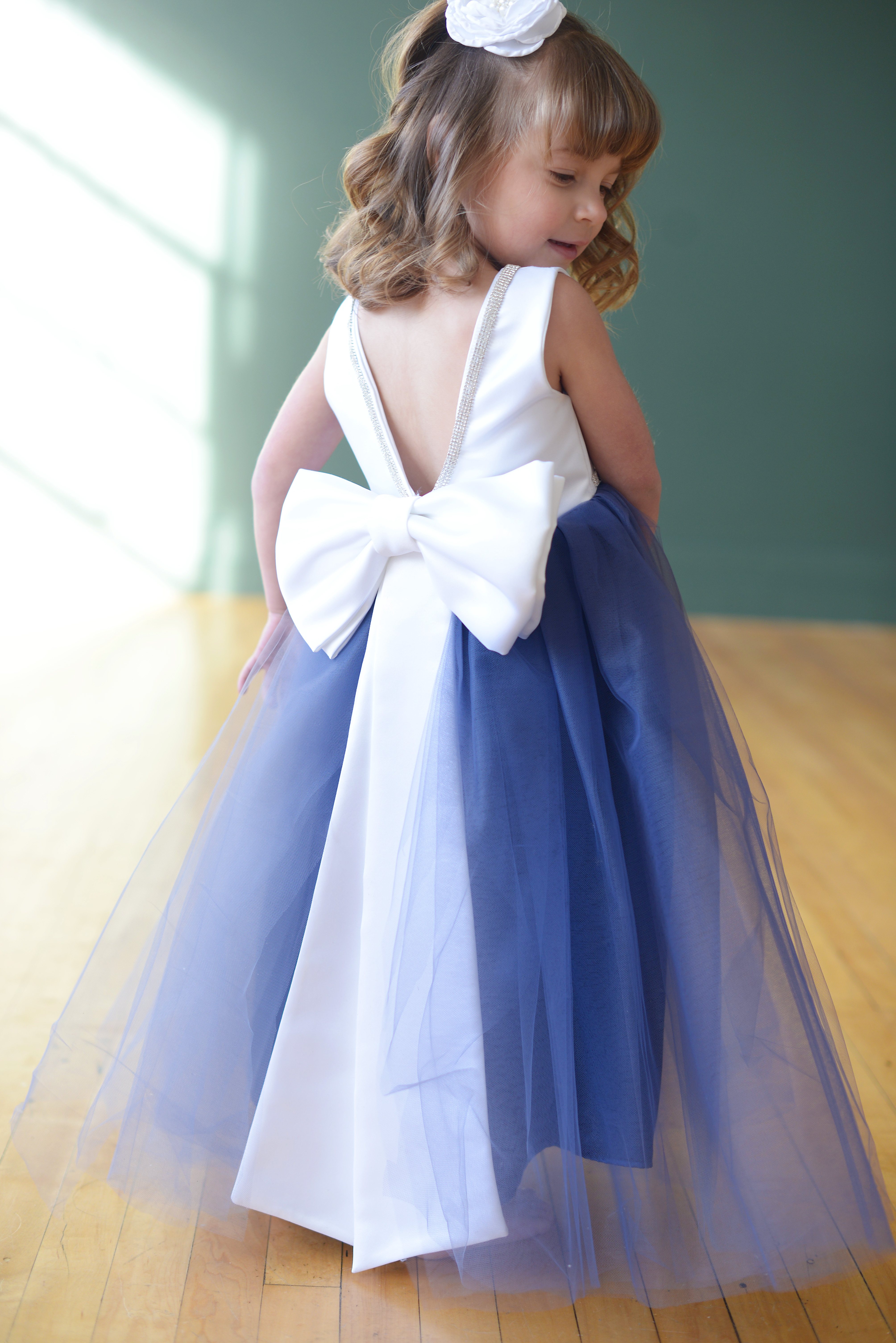 Beautifully cute flower girl dresses in silk satin tulle and cotton the maria dress with a blue tulle skirt v neck back and white bodice the sash comes in 140 colours izmirmasajfo
